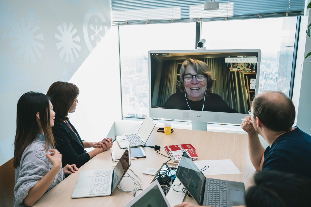 Yumika Nakane in a video conference with Patty McCord