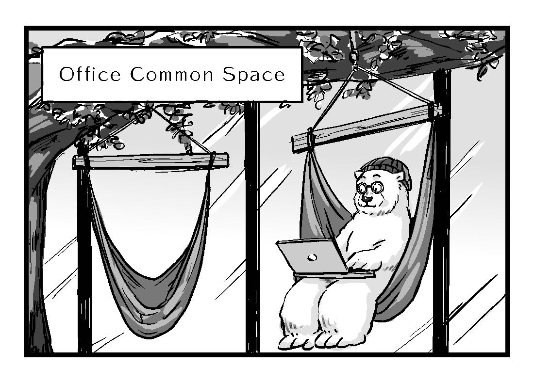 Alex working from a hammock in the office common space