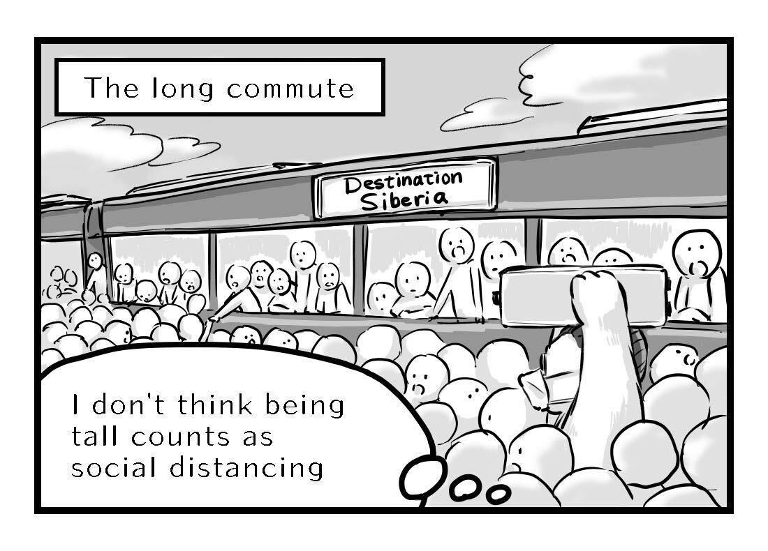 A long commute on a densely crowded train