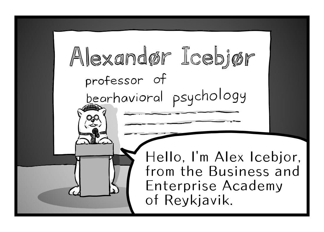 the professor introduces himself as Alex Icebjor of the Business and Enterprise Academy of Reykjavik