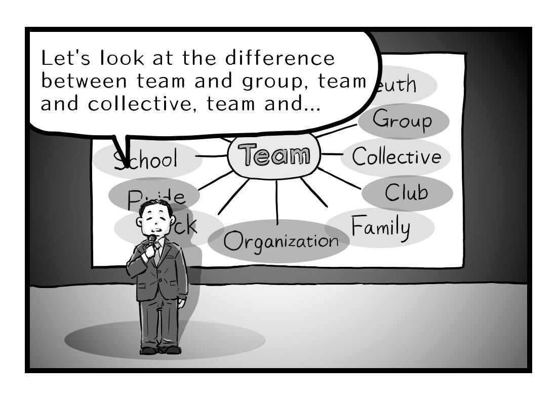 Dan begins to explain the difference between Teamwork and each of its synonyms
